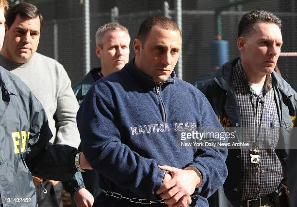FBI perp walk members of the Gambino crime family Mario Cassarino and William Scotto walking out of Federal Plaza