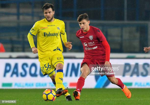 Perparim Hetemaj AC Chievo Verona competes for the ball whit Nicolo Barella of Cagliari Calcio during the serie A match between AC Chievo Verona and...