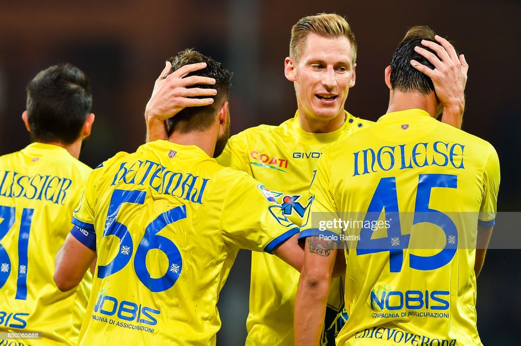 Perparim Hetemaj of Chievo Verona (2nd from left) celebrated by Valter Birsa and Roberto Inglese of Chievo Verona after scoring a goal during the Serie A match between Genoa CFC and AC Chievo Verona at Stadio Luigi Ferraris on September 20, 2017 in Genoa, Italy.
