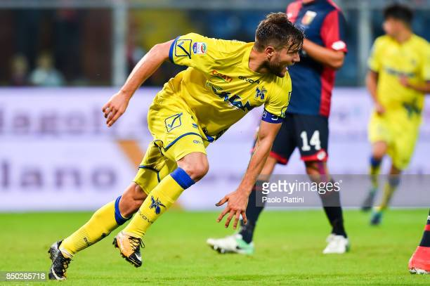 Perparim Hetemaj of Chievo Verona celebrates after scoring a goal during the Serie A match between Genoa CFC and AC Chievo Verona at Stadio Luigi...