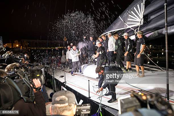 Perpetual LOYAL crew celebrate at Constitution Dock after winning the 2016 Sydney To Hobart on December 28 2016 in Hobart Australia