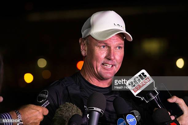 Perpetual LOYAL owner/skipper Anthony Bell talks with media at Constitution Dock after winning the 2016 Sydney To Hobart on December 28 2016 in...
