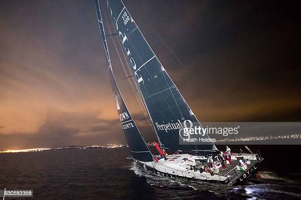 Perpetual LOYAL sails up the Derwent River and wins the 2016 Sydney To Hobart on December 28 2016 in Hobart Australia