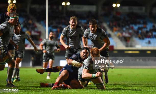 Perpignan France 14 December 2018 Sean OBrien of Connacht goes over to score his second and his side's third try during the European Rugby Champions...