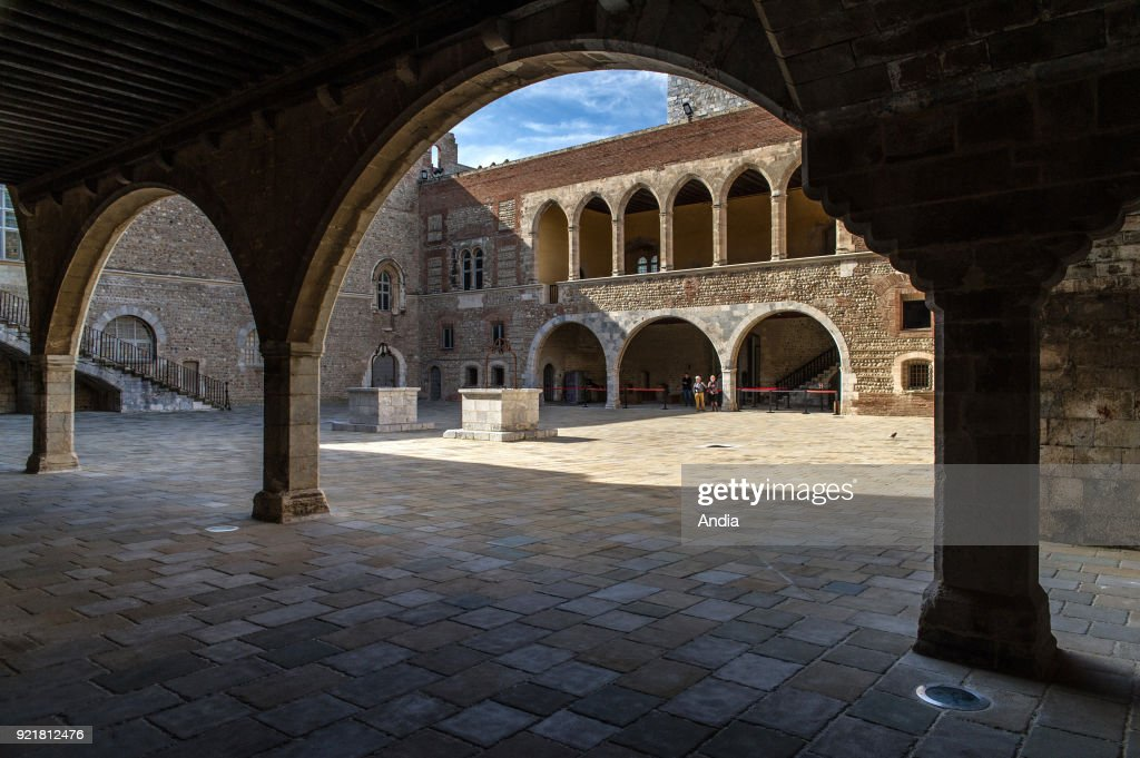 Perpignan (southern France). Inner yard and buildings of the Palace of the Kings of Majorca (Palau dels Reis de Mallorca in Catalan) situated on the hill of Puig del Rei.