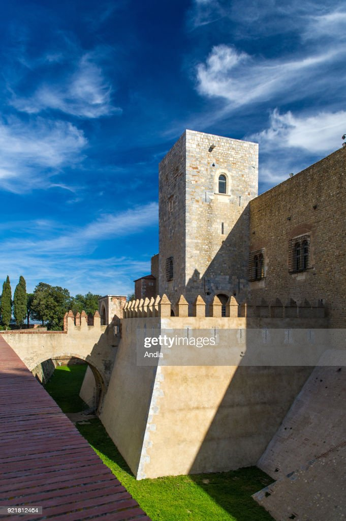 Perpignan (southern France). Terraces, surrounding wall and buildings of the Palace of the Kings of Majorca (Palau dels Reis de Mallorca in Catalan) situated on the hill of Puig del Rei.
