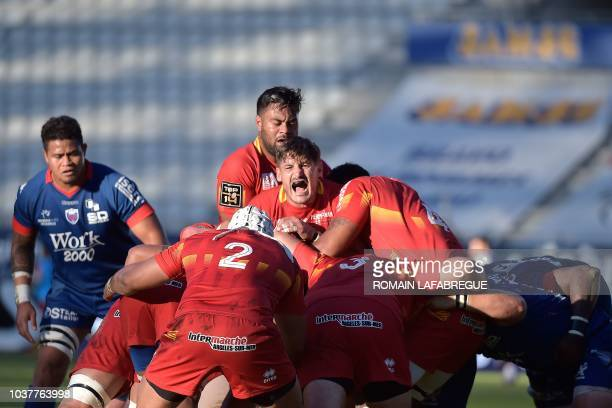 Perpignan's French prop Enzo Forletta vies in a maul during the French Top 14 rugby union match between Grenoble and Perpignan on September 22 at the...