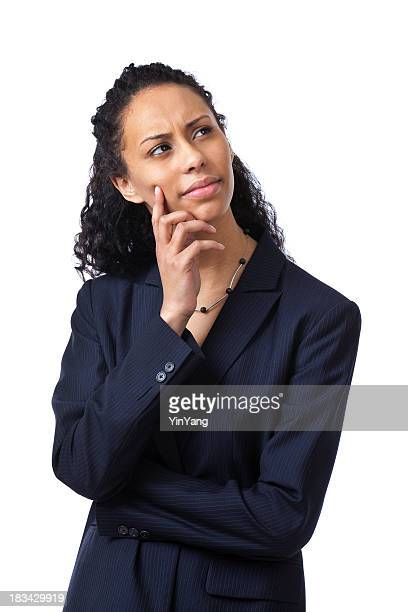 Perplexed Young Business Woman Comtemplating, Thinking, and Planning, on White