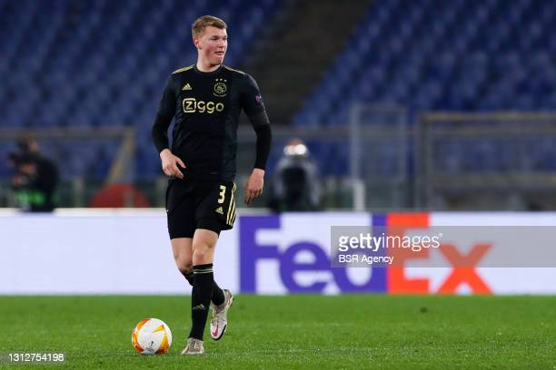 Perr Schuurs of Ajax during the UEFA Europa League Quarter Final: Leg Two match between AS Roma and Ajax at Stadio Olimpico on April 15, 2021 in...