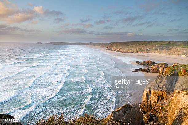 perranporth beach, cornwall - cornwall england stock pictures, royalty-free photos & images