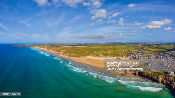 perranporth beach, perranporth, cornwall, england, united kingdom, europe - gavin hellier stock pictures, royalty-free photos & images