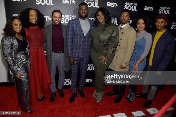 Perri Camper Iantha Richardson Jason Dirden Sinqua Walls Kelly Price Christopher Jefferson Katlyn Nicol and Jalani Winston attend BET's American Soul...