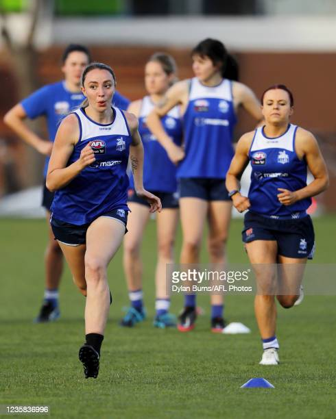 Perri King of the Kangaroos in action during the North Melbourne training session at Arden Street Oval on October 12, 2021 in Melbourne, Australia.