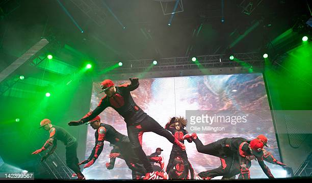 Perri Luc Kiely and Ashley Banjo of Diversity perform during the 2012 Digitized In a Game Tour on stage at Nottingham Capital FM Arena on April 3...