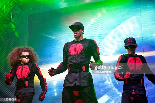 Perri Luc Kiely Ashley Banjo and Mitchell Craske of Diversity perform during the 2012 Digitized In a Game Tour on stage at Nottingham Capital FM...