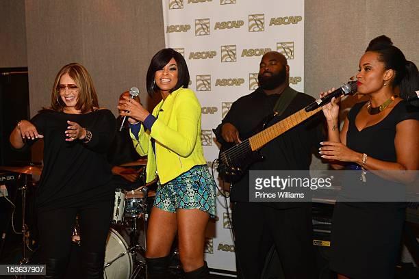 Perri Pebbles Reid and Demetria McKinney perform at the ASCAP RB Soul ATL Legends Mixer at the W Atlanta Midtown on September 26 2012 in Atlanta...