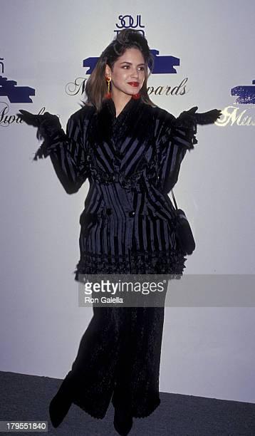 Perri Pebbles Reid attends Soul Train Music Awards on April 12 1989 at the Shrine Auditorium in Los Angeles California