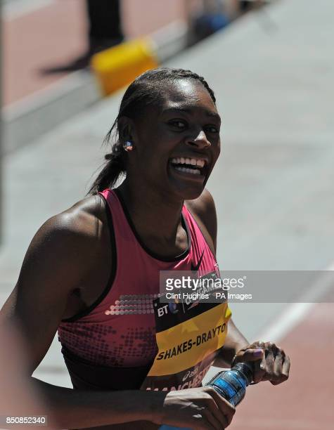 Perri ShakesDrayton celebrates after she wins the women's 200m hurdles during the BT Great City Games in Manchester