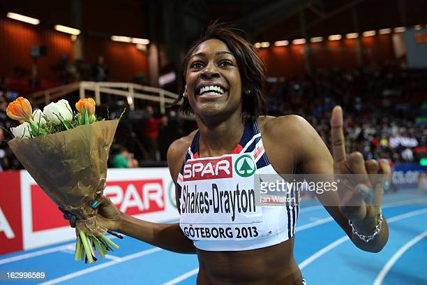 Perri ShakesDrayton of Great Britain and Northern Ireland celebrates winning gold in the Women's 400m Final during day three of European Indoor...