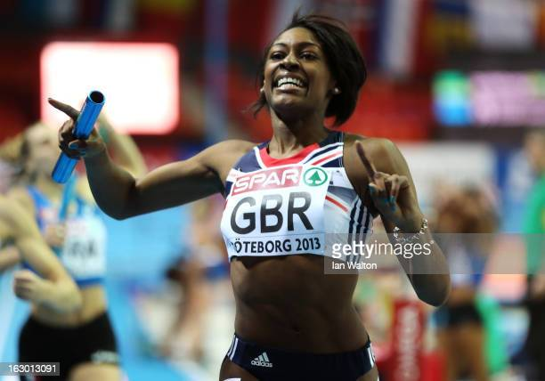 Perri ShakesDrayton of Great Britain crosses the line to win gold in the Women's 4x400m Relay Final during day three of European Indoor Athletics at...
