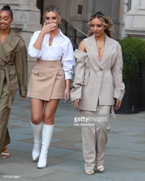 Perrie Edwards and Jade Thirlwall from Little Mix seen leaving the Langham Hotel ahead of their performance of BBC Radio One Live Lounge on September...