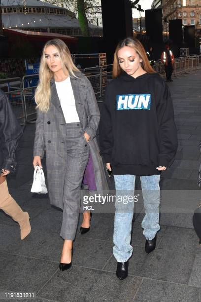 Perrie Edwards and Jade Thirlwall of Little Mix seen arriving at the Global Studios for the Heart Breakfast show on December 04, 2019 in London,...