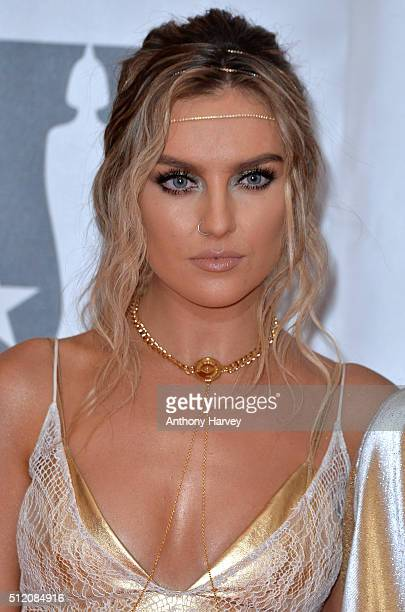 Perrie Edwards attends the BRIT Awards 2016 at The O2 Arena on February 24 2016 in London England