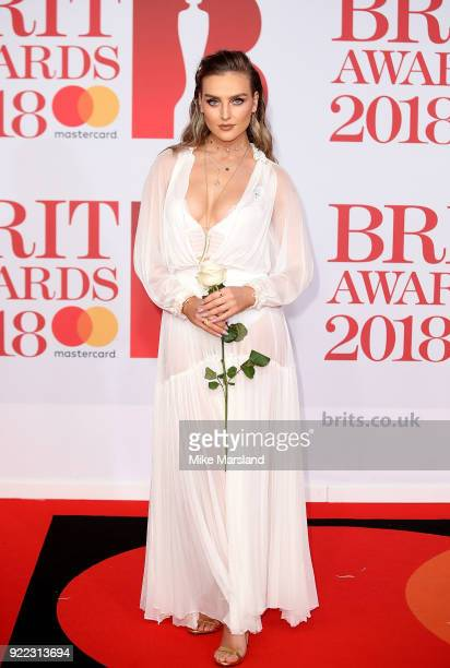 Perrie Edwards attends The BRIT Awards 2018 held at The O2 Arena on February 21, 2018 in London, England.
