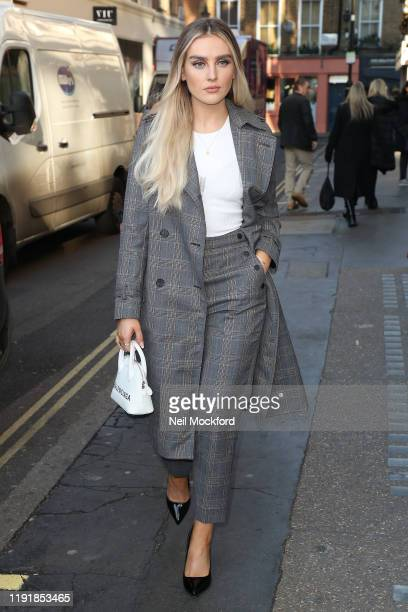 Perrie Edwards from Little Mix seen arriving at KISS FM UK radio studios on December 04, 2019 in London, England.