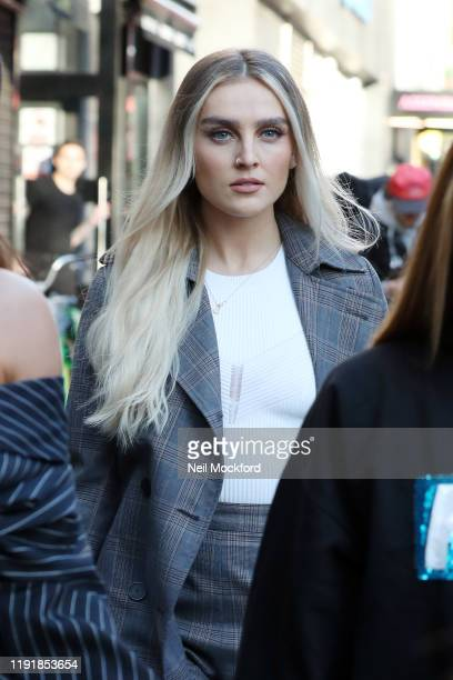 Perrie Edwards from Little Mix seen leaving Capital Radio studios on December 04, 2019 in London, England.