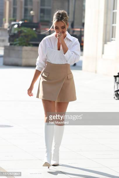 Perrie Edwards from Little Mix seen leaving the Langham Hotel ahead of their performance of BBC Radio One Live Lounge on September 15, 2020 in...