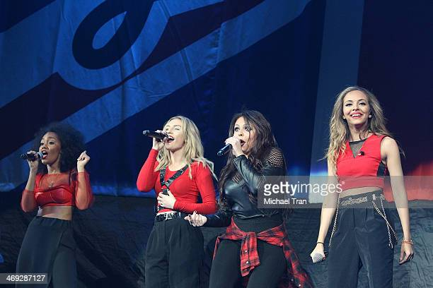 Perrie Edwards Jade Thirlwall Jessica Nelson and Leigh Anne Pinnock of Little Mix perform onstage during The Neon Lights Tour held at Honda Center on...