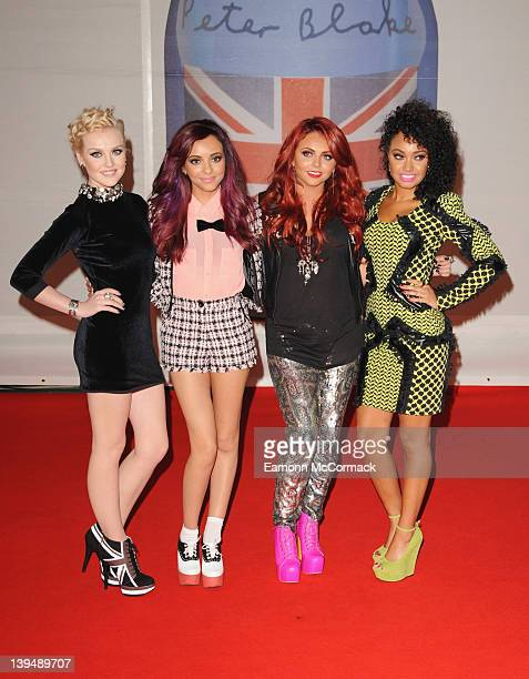 Perrie Edwards Jade Thirlwall Jesy Nelson and LeighAnne Pinnock of Little Mix attend The BRIT Awards 2012 at the O2 Arena on February 21 2012 in...