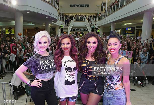 Perrie Edwards Jade Thirlwall Jesy Nelson and LeighAnne Pinnock of 'Little Mix' meet fans at Eastland Shopping Centre on November 1 2012 in Melbourne...
