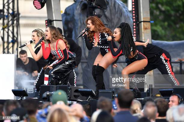 Perrie Edwards Jade Thirlwall Jesy Nelson and LeighAnne Pinnock of Little Mix perform on stage at the F1 Live in London event at Trafalgar Square on...
