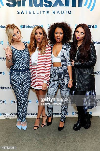 Perrie Edwards Jade Thirlwall Leigh Anne Pinnock and Jessica Nelson of Little Mix visit at SiriusXM Studios on February 6 2014 in New York City