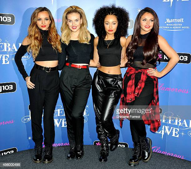 Perrie Edwards Jesy Nelson Jade Thirlwell and LeighAnne Pinnock of Little Mix pose backstage at the Key 103 Jingle Bell Ball at Phones 4U Arena on...