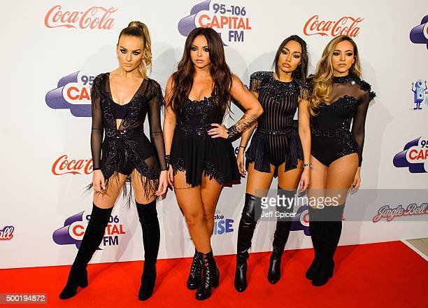 Perrie Edwards Jesy Nelson LeighAnne Pinnock and Jade Thirlwall from Little Mix attend the Jingle Bell Ball at The O2 Arena on December 6 2015 in...