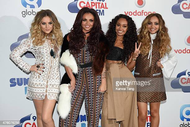 Perrie Edwards Jesy Nelson LeighAnne Pinnock and Jade Thirlwall of Little Mix attend the Capital FM Summertime Ball at Wembley Stadium on June 6 2015...