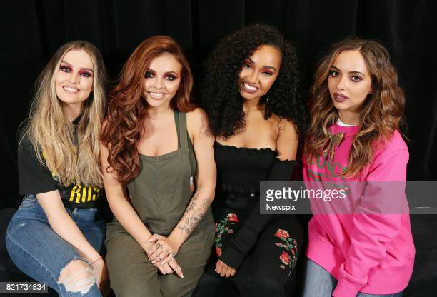 MELBOURNE VIC Perrie Edwards Jesy Nelson LeighAnne Pinnock and Jade Thirlwall of Little Mix pose during a photo shoot at the Margaret Court Arena in...