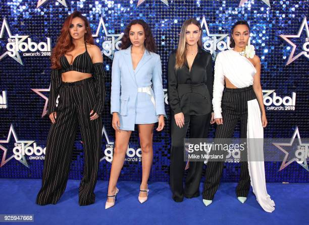 Perrie Edwards Jesy Nelson LeighAnne Pinnock and Jade Thirlwall of the group Little Mix attend The Global Awards 2018 at Eventim Apollo Hammersmith...