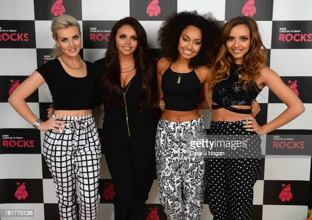 Perrie Edwards Jesy Nelson LeighAnne Pinnock and Jade Thirlwall pose backstage during the 'BBC Children In Need Rocks' at Eventim on November 12 2013...