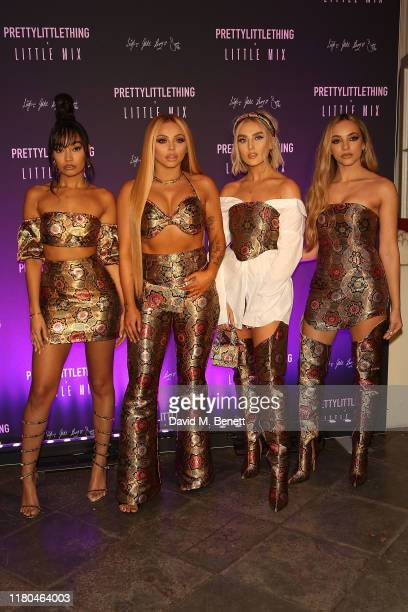 Perrie Edwards, Jesy Nelson, Leigh-Anne Pinnock and Jade Thirlwall attend the launch of the PrettyLittleThing x Little Mix collection at Aynhoe Park...