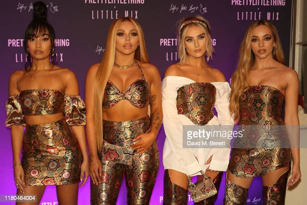 Perrie Edwards Jesy Nelson LeighAnne Pinnock and Jade Thirlwall attend the launch of the PrettyLittleThing x Little Mix collection at Aynhoe Park...