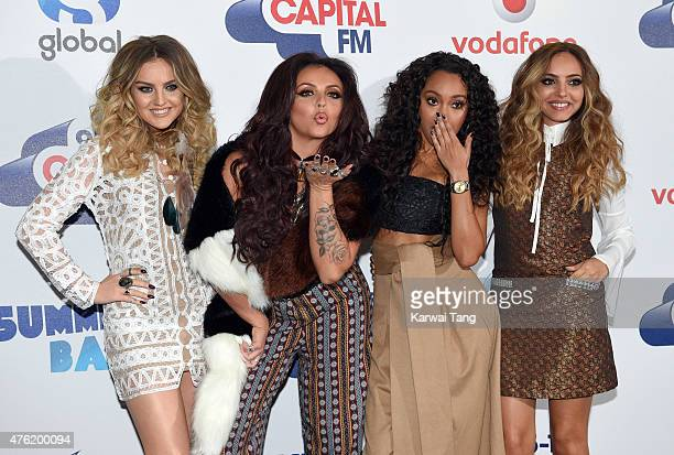 Perrie Edwards Jesy Nelson LeighAnne Pinnock and Jade Thirlwall attend the Capital FM Summertime Ball at Wembley Stadium on June 6 2015 in London...