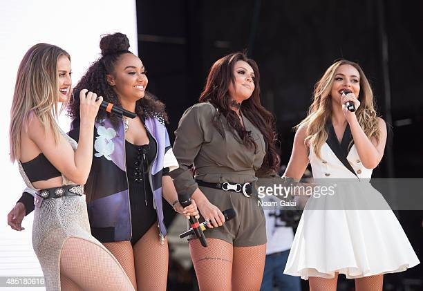 Perrie Edwards Leigh AnnePinnock Jesy Nelson and Jade Thirlwall of Little Mix perform during the 2015 Billboard Hot 100 Music Festival at Nikon at...