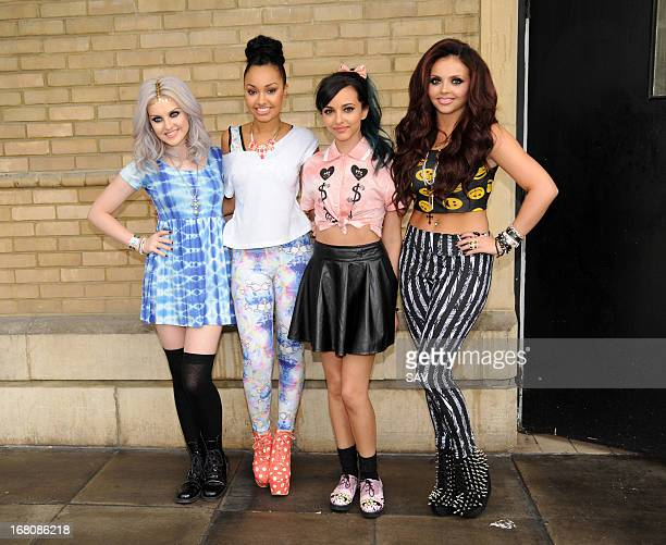Perrie Edwards LeighAnne Pinnock Jade Thirlwall and Jesy Nelson of Little Mix pictured at Whiteleys shopping centre on May 5 2013 in London England