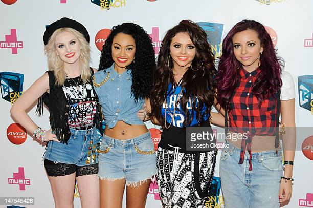 Perrie Edwards LeighAnne Pinnock Jesy Nelson and Jade Thirlwall of girl group Little Mix attend T4 On The Beach on July 1 2012 in WestonSuperMare...