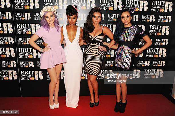 Perrie Edwards LeighAnne Pinnock Jesy Nelson and Jade Thirlwall of Little Mix attend The Brit Awards 2013 at The O2 Arena on February 20 2013 in...