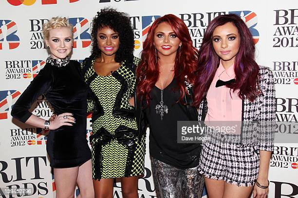 Perrie Edwards LeighAnne Pinnock Jesy Nelson and Jade Thirwell of Little Mix attend The Brit Awards 2012 at The O2 Arena on February 21 2012 in...